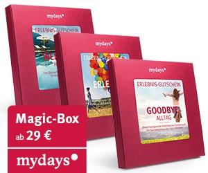 Das Eventportal Mydays bietet eine sehr interessante Auswahl an Erlebnisgutscheinen in Form von Geschenkboxen an. Besonders für Paare bekommt eine Vielzahl an Geschenkideen.